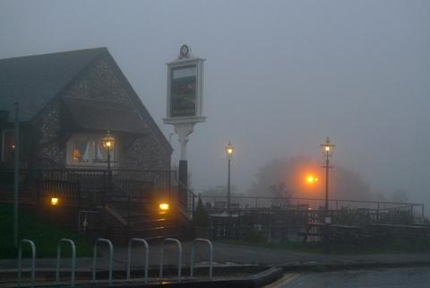 Devils Dyke pub...today.....in the bloody rain