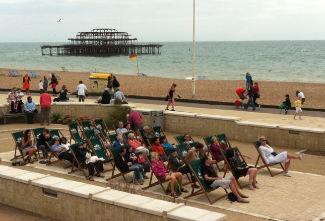 Deck Chairs by the  Birdcage Bandstand in Hove