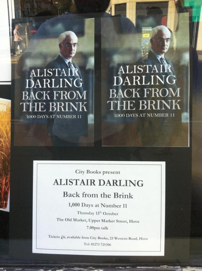 Darling speaking at The Old Market in Hove on Wednesday October 13th at 7pm