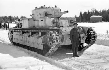 Soviet T-28 tank captured by Finnish forces, Varkaus, Finland, 1940